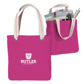 Allie Fuchsia Canvas Tote-Butler University Stacked Bulldog Head