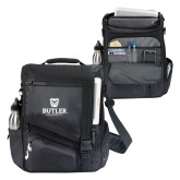 Momentum Black Computer Messenger Bag-Butler University Stacked Bulldog Head