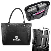 Sophia Checkpoint Friendly Black Compu Tote-Butler University Stacked Bulldog Head