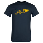 Navy T Shirt-Beavers Script