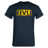 Navy T Shirt-BVU Badge