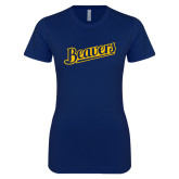 Next Level Ladies SoftStyle Junior Fitted Navy Tee-Beavers Script