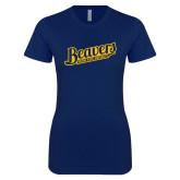 Next Level Ladies SoftStyle Junior Fitted Navy Tee-Beavers Script with Name