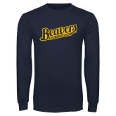 Navy Long Sleeve T Shirt-Beavers Script with Name