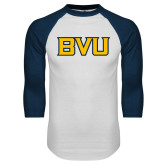 White/Navy Raglan Baseball T Shirt-BVU Monogram