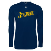 Under Armour Navy Long Sleeve Tech Tee-Beavers Script