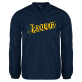 V Neck Navy Raglan Windshirt-Beavers Script