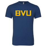 Next Level Vintage Navy Tri Blend Crew-BVU Monogram