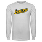 White Long Sleeve T Shirt-Beavers Script with Name