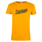Ladies Gold T Shirt-Beavers Script with Name