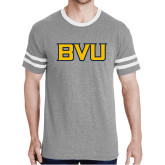 Grey Heather/White Tri Blend Varsity Tee-BVU Monogram