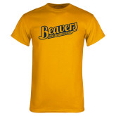 Gold T Shirt-Beavers Script with Name