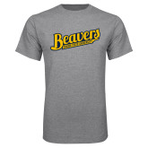 Grey T Shirt-Beavers Script with Name