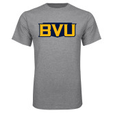 Grey T Shirt-BVU Badge