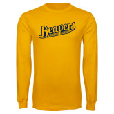 Gold Long Sleeve T Shirt-Beavers Script with Name