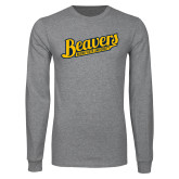 Grey Long Sleeve T Shirt-Beavers Script with Name