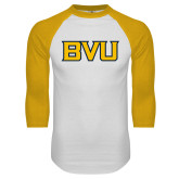 White/Gold Raglan Baseball T Shirt-BVU Monogram