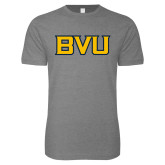 Next Level SoftStyle Heather Grey T Shirt-BVU Monogram