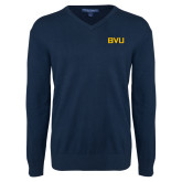 Classic Mens V Neck Navy Sweater-BVU Monogram