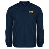 V Neck Navy Raglan Windshirt-BVU Monogram