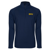 Sport Wick Stretch Navy 1/2 Zip Pullover-BVU Monogram