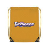 Gold Drawstring Backpack-Big West Championships 2017 Cross Country