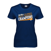 Ladies Navy T Shirt-Womens Soccer Winners 2013 - Cal State Fullerton