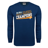 Navy Long Sleeve T Shirt-Womens Soccer Winners 2013 - Cal State Fullerton