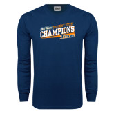 Navy Long Sleeve T Shirt-2015 Mens Soccer - Cal State Fullerton