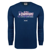 Navy Long Sleeve T Shirt-Big West Champions 2016 UCSB Mens Soccer