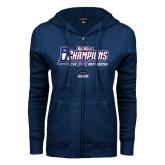 ENZA Ladies Navy Fleece Full Zip Hoodie-Big West Champions 2016 UCSB Mens Soccer