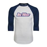 White/Navy Raglan Baseball T-Shirt-