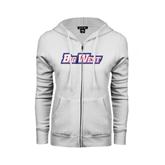 ENZA Ladies White Fleece Full Zip Hoodie-