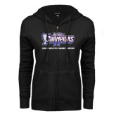 ENZA Ladies Black Fleece Full Zip Hoodie-Big West Champions Long Beach State
