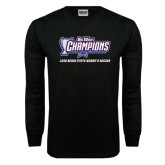 Black Long Sleeve TShirt-Big West Champions Long Beach State