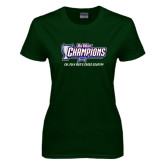 Ladies Dark Green T Shirt-Big West Champions 2016 Cal Poly Mens Cross Country