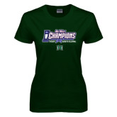 Ladies Dark Green T Shirt-Big West Champions 2016 Hawaii Womens Volleyball