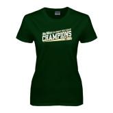 Ladies Dark Green T Shirt-2015 Womens Cross Country - Cal Poly