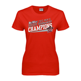 Ladies Red T Shirt-2013 Volleyball Champions - Hawaii