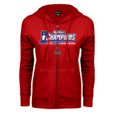 ENZA Ladies Red Fleece Full Zip Hoodie-Big West Champions 2016 CSUN Womens Soccer
