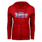 ENZA Ladies Red Fleece Full Zip Hoodie-Big West Champions 2016 CSUN Mens Soccer