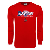 Red Long Sleeve T Shirt-Big West Champions 2016 CSUN Mens Soccer