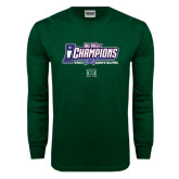 Dark Green Long Sleeve T Shirt-Big West Champions 2016 Hawaii Womens Volleyball