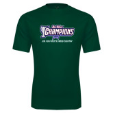 Performance Dark Green Tee-Big West Champions 2016 Cal Poly Mens Cross Country