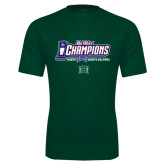 Performance Dark Green Tee-Big West Champions 2016 Hawaii Womens Volleyball
