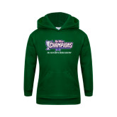 Youth Dark Green Fleece Hoodie-Big West Champions 2016 Cal Poly Mens Cross Country
