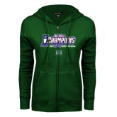 ENZA Ladies Dark Green Fleece Full Zip Hoodie-Big West Champions 2016 Hawaii Womens Volleyball