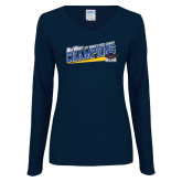 Ladies Navy Long Sleeve V Neck Tee-2017 Womens Cross Country Champions