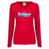 Ladies Red Long Sleeve V Neck T Shirt-Big West Tournament 2017 Womens Soccer