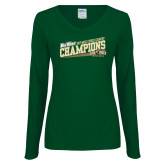 Ladies Dark Green Long Sleeve V Neck Tee-2017 Mens Cross Country Champions - Cal Poly